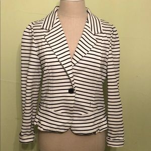 Anthropologie Black and White Stripped Blazer